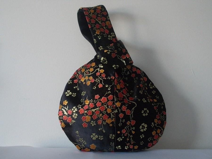 زفاف - Black/terracotta brocade Japanese knot bag,evening bag/wristlet bag /wrist purse/ bridesmaid bag/wedding/prom/bridal bag/Goth. UK seller