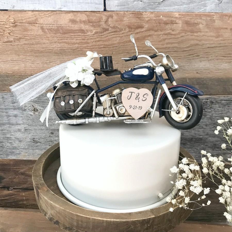 زفاف - Farmhouse motorcycle Wedding Cake Topper /  Barn Wedding Cake Topper / Country Wedding Cake Topper / Motorcycle cake topper / Rustic Cake