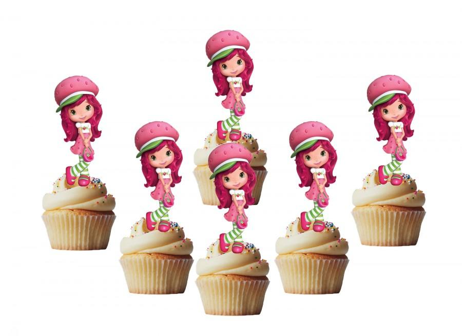 Wedding - 24 strawberry shortcake cakepop toppers, cupcake toppers, cpcake decors