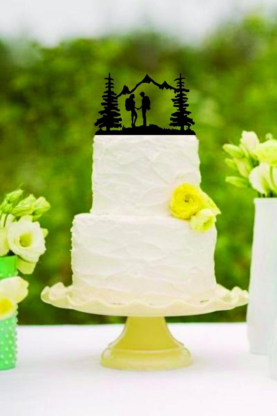 زفاف - Wedding Cake Topper Couple Back Packing Hiking Mountains FREE Personalization Laser Cut