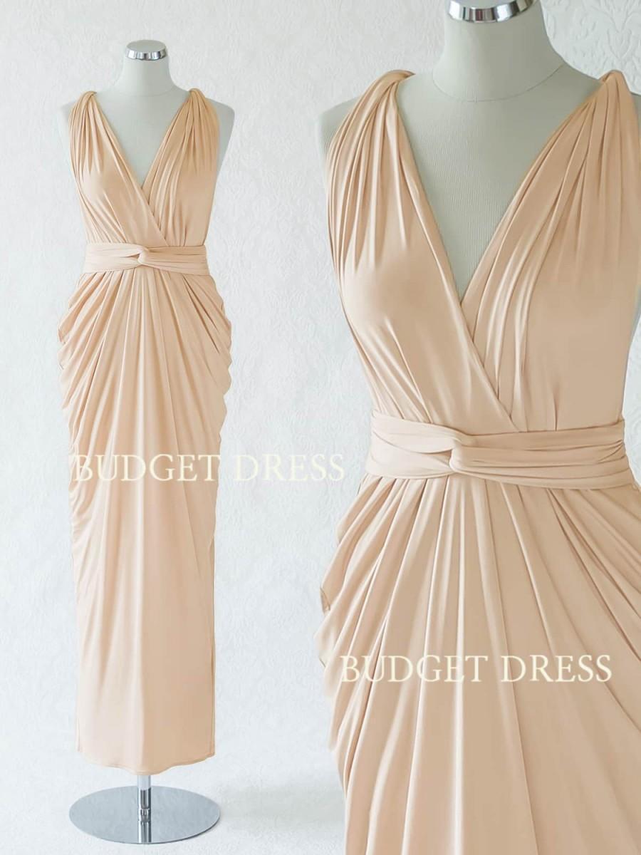 زفاف - Sand Champagne Convertible Bridesmaid Dress, Long Infinity Greek Goddess Dress, Maxi Multiway Prom Dress, Mix And Match Bridal Party Dresses