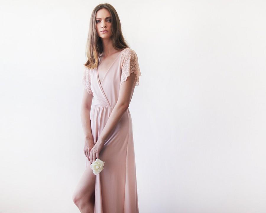 زفاف - Blush pink  wrap dress with lace short sleeves #1052