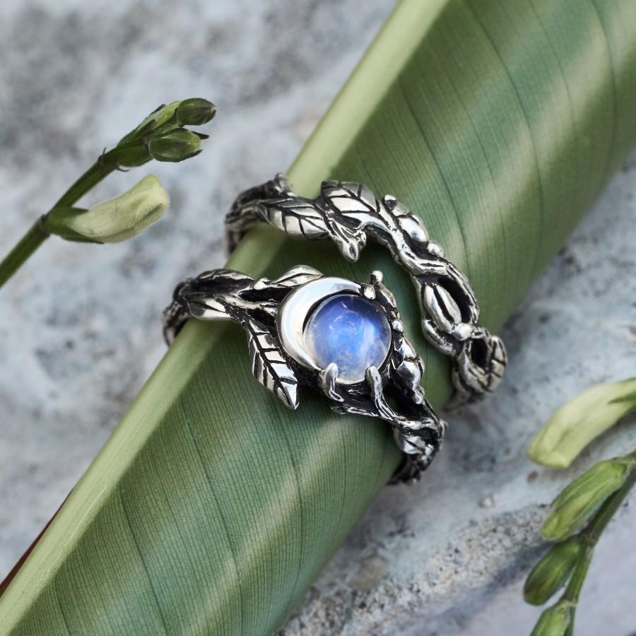 "Свадьба - Moonstone Ring Set ""Luna"""