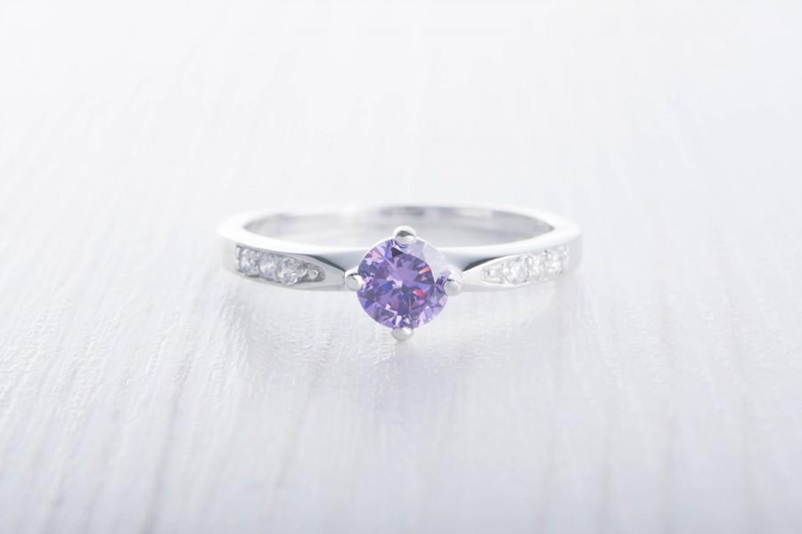 زفاف - Natural Amethyst Solitaire engagement ring - available in Sterling Silver  or white gold - handmade