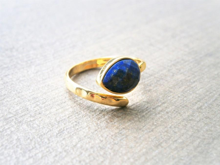 زفاف - Lapislazuli Ring blau vergoldeter Tropfen Solitärring Lapis Lazuli