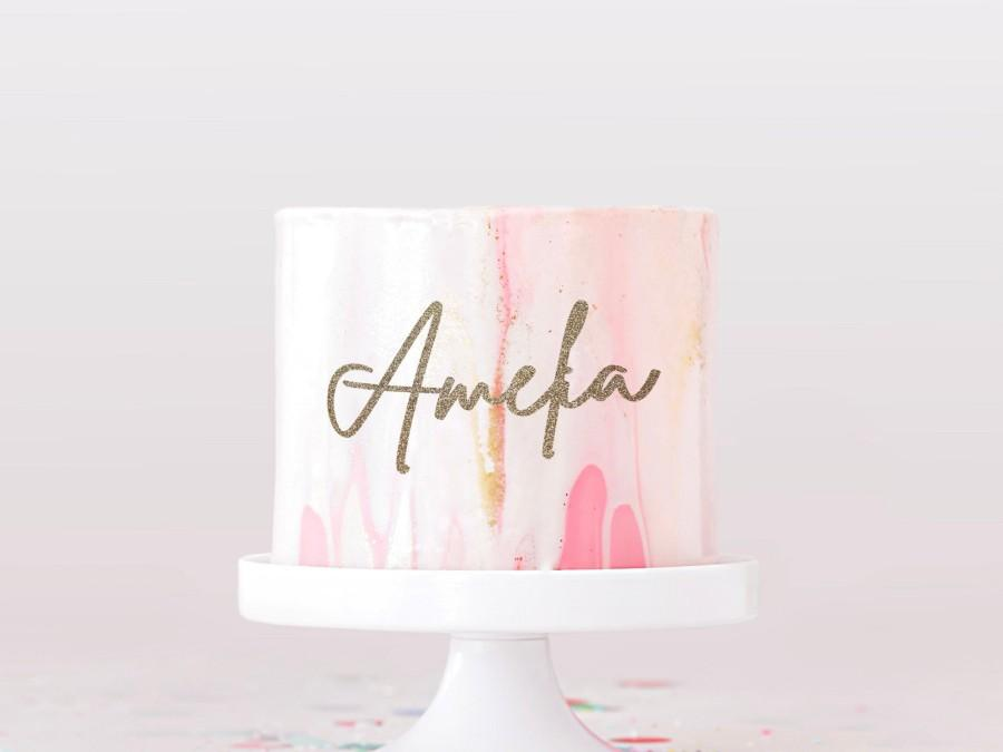 Mariage - Custom name cake charm glitter personalised topper decor party cake decorating ideas birthday cake gold silver glitter script cute unisex
