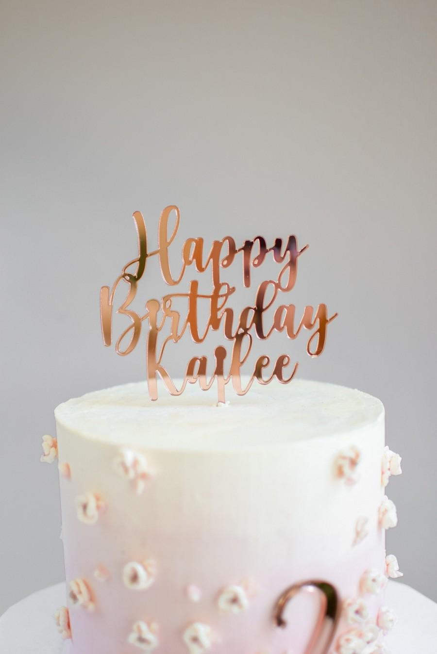 Mariage - Custom wood / Acrylic Topper Happy Birthday, Cake Toppers