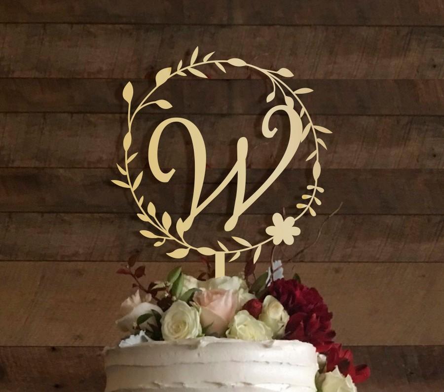 زفاف - w cake topper, wedding cake topper, cake toppers for wedding, rustic wedding cake topper, initial cake topper, monogram cake topper w, #008
