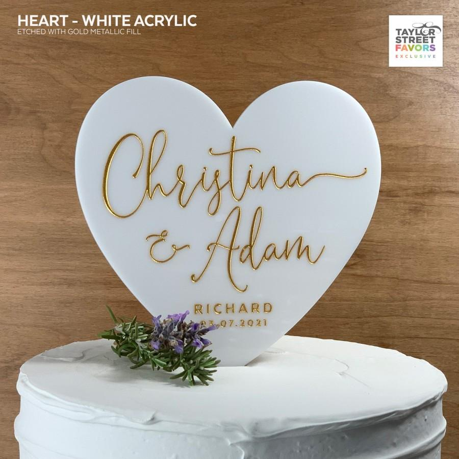 Mariage - Heart Cake Topper, Wedding Cake Topper, White Acrylic Cake Topper with Script Names, Etched Heart Cake Topper - #9715