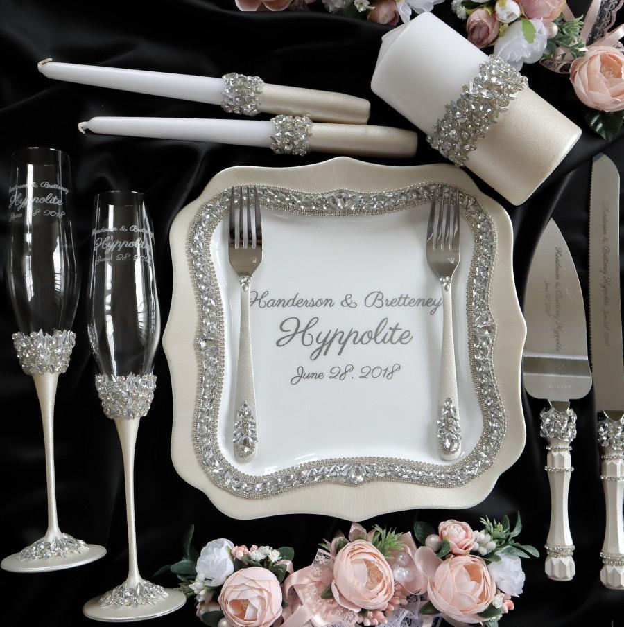 Mariage - Wedding glasses for bride and groom Toasting flutes Wedding Unity candles set Cake server set Wedding cake cutting set
