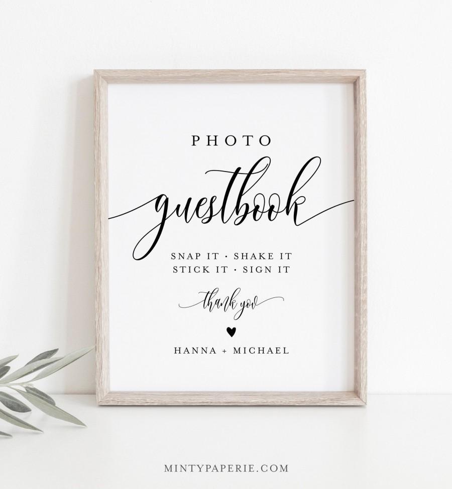 زفاف - Photo Guestbook Sign, Personalized Wedding Guest Book, Editable Template, Minimalist Sign, Instant Download, Templett, 8x10 #008-11S