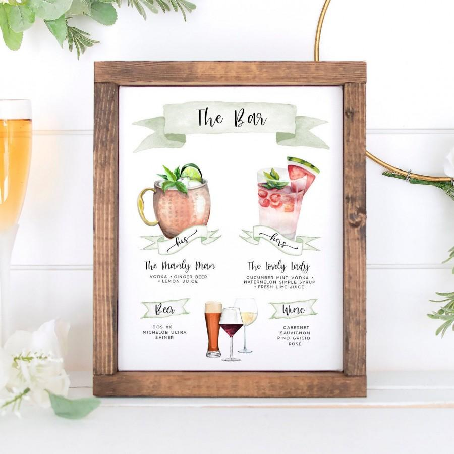 زفاف - Design Your Own! 150 Drink Images + Garnishes Included, Signature Cocktail Sign Template, Signature Drink Menu Printable, Wedding Bar Sign