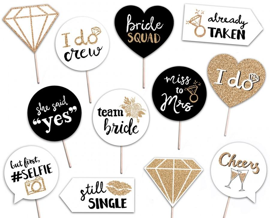 Mariage - Bridal Shower Printable Photo Booth Props - INSTANT DOWNLOAD - Gold Black and White - 12 Bachelorette Party Signs - Hen Party