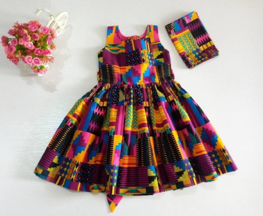 Mariage - Ankara Baby Girls Dress With Head Wrap, African Clothing, African girl dress, Ankara dresses, African Print Dress, Toddler dresses, Dresses