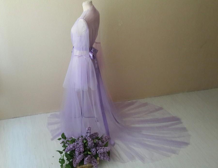 Wedding - Light purple  boudoir dress, Tulle boudoir gown, Long sleeve bridal gown, Boudoir gown, Luxury boudoir robe, Bridal nightgown, Bride morning