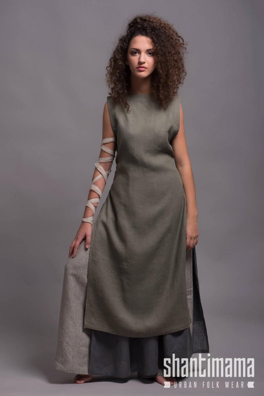 Mariage - Outfit - 3 pieces - Wide Leg Linen Pants BORA + Long Linen Tunic Dress NERO + Linen Apron Dress LINAS,  Washed Soft Linen Flax Women Clothes