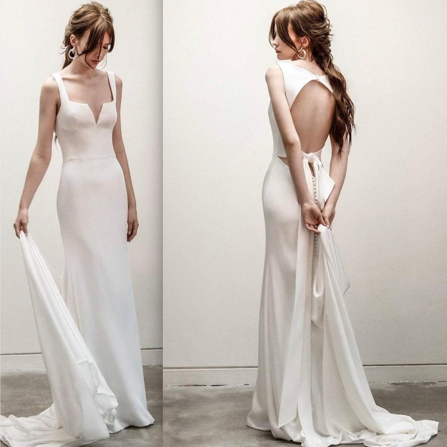 Wedding - Minimal Square Neck Front Slit Sleeveless Wedding Dress Simple Elegant