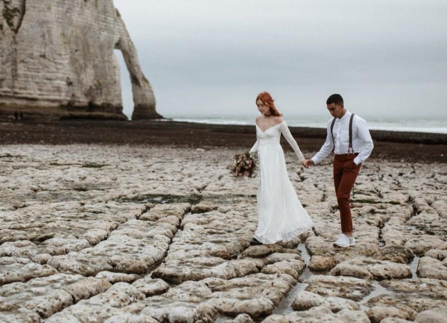 Wedding - Bestseller Ivory Off the shoulder wrap wedding dress  with pockets , vintage inspired 1244