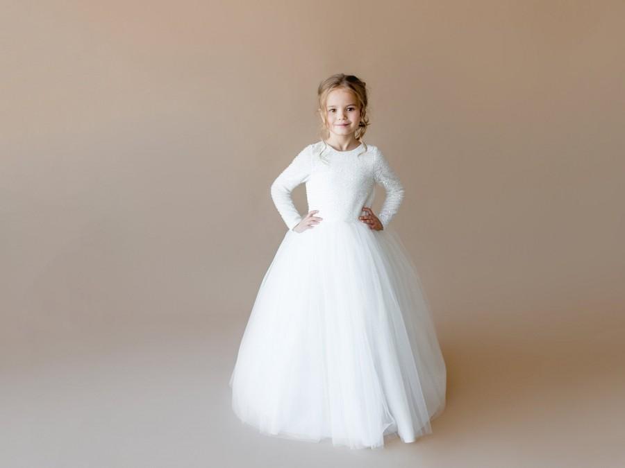 Wedding - Ivory flower girl dress Junior bridesmaid dress Toddler sequins girl dress Baby girl dress Special occasion Wedding dress Girl dress pattern