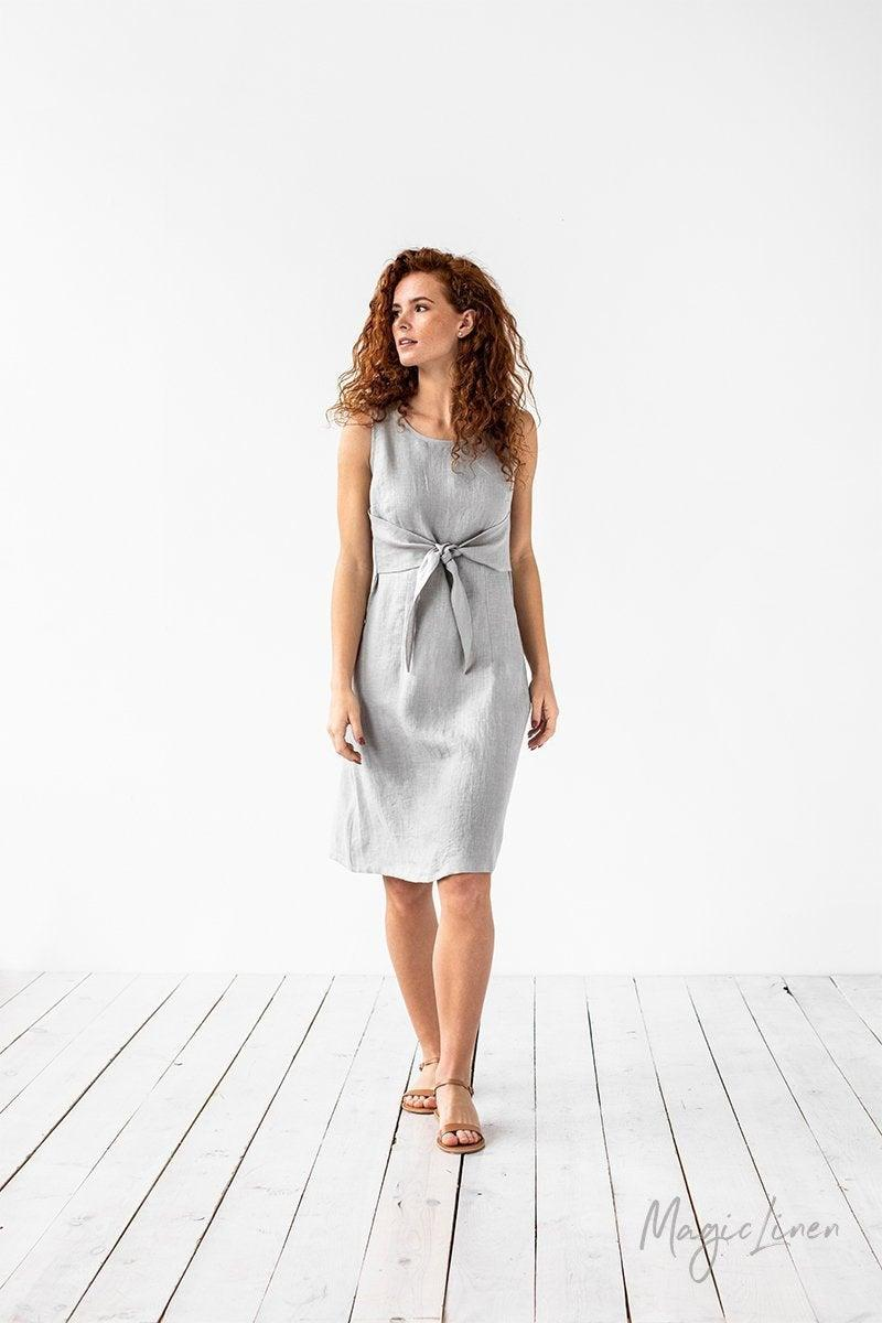 Mariage - Tie-front linen dress EDEN in Light gray. Fit and flare linen summer dress. Linen clothing for women
