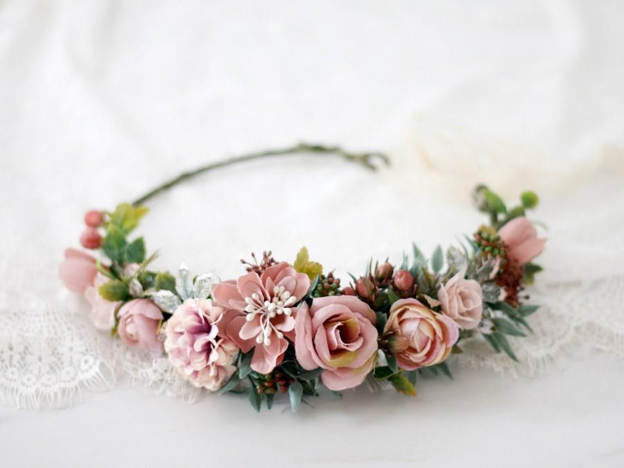 Mariage - Dusty rose flower crown wedding, mauve floral crown bride, dusty pink bridesmaid hair flower, floral headband maid of honor