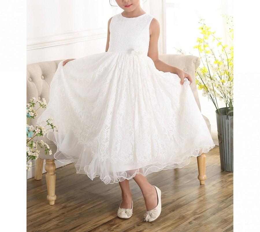 Mariage - Ivory Lace Bridesmaid Flower Girl Dress 2 3 4 5 6 7 8 9 Years