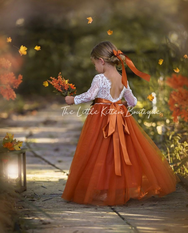 Mariage - Burnt Orange tulle flower girl dress, Rust Flower Girl Dress, rustic lace flower girl dress, boho flower girl dress, flower girl dress, Rust