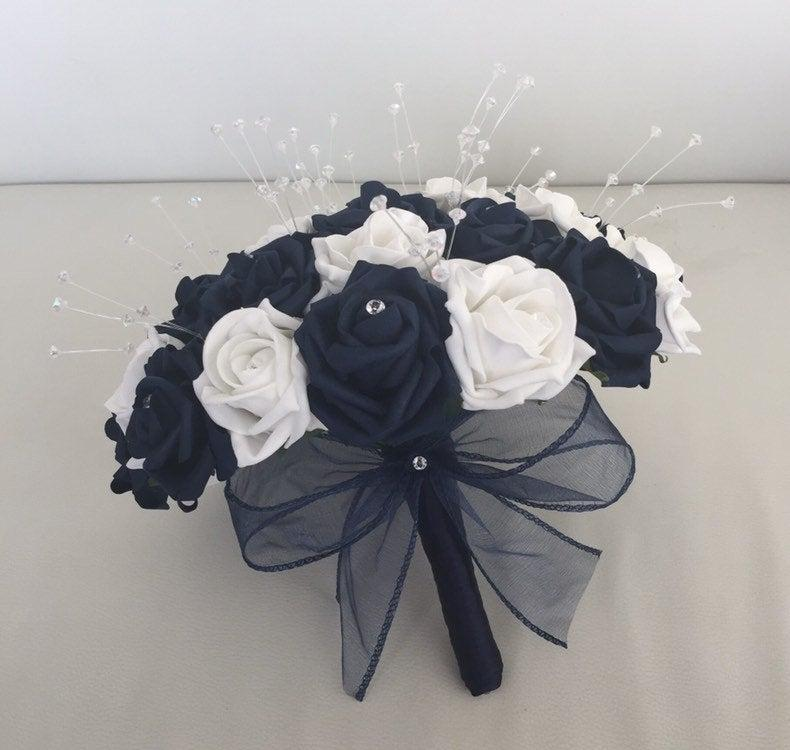 Wedding - Navy blue and white artificial wedding flowers rose bouquets bride bridesmaid flowers wrist corsage button hole flower girl diamantes