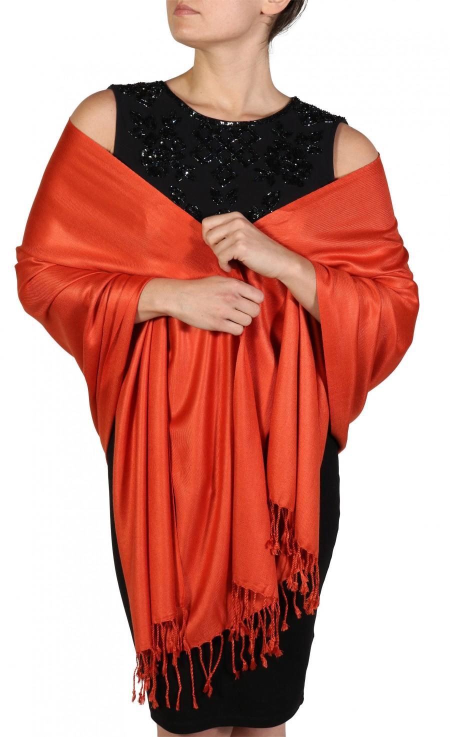 Wedding - Burnt Orange Shawl, Rust Pashmina, Fairtrade Shawl, Orange Bridal Wrap, Wedding Pashmina, Scarves and Wraps, Gifts For Women, York Scarves