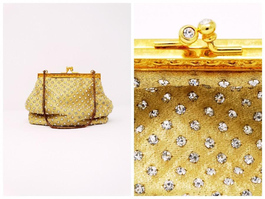 Mariage - Antique Rhinestone Encrusted Evening Bag // Golden Crystal Diamond Art Deco Vintage Purse w/ Gold Hardware .. STUNNING!!