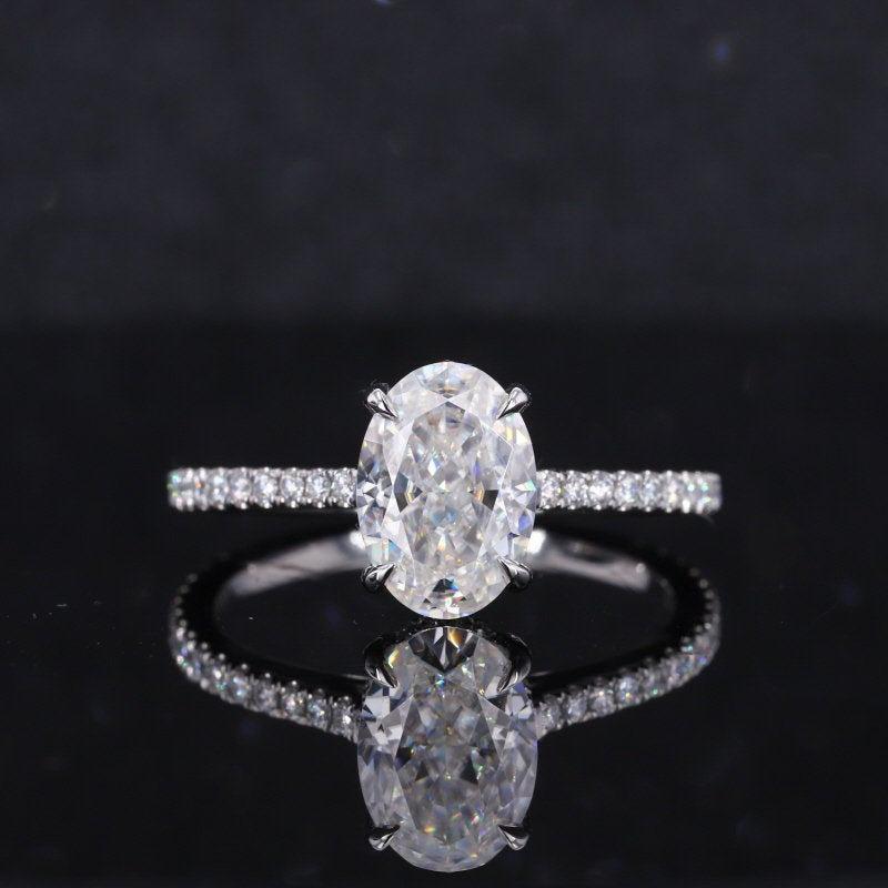 زفاف - 14K White Gold Classic Moissanite Ring, Luxury Prong Setting 2 Carat Oval Cut Engagement Ring 2ct Carat Oval Moissanite Ring,Hidden Halo