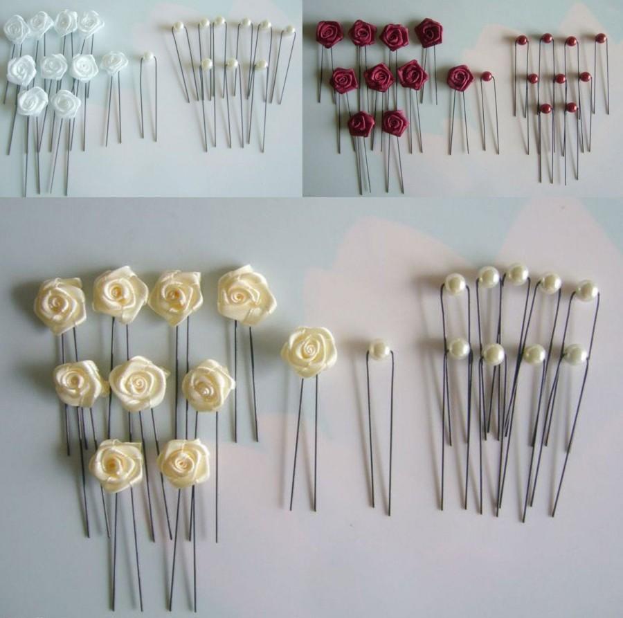Wedding - Hair Accessories, Bridal Clips, Headpiece, Wedding, Flowers, Communion 20-series Set Of Roses & Hairpins
