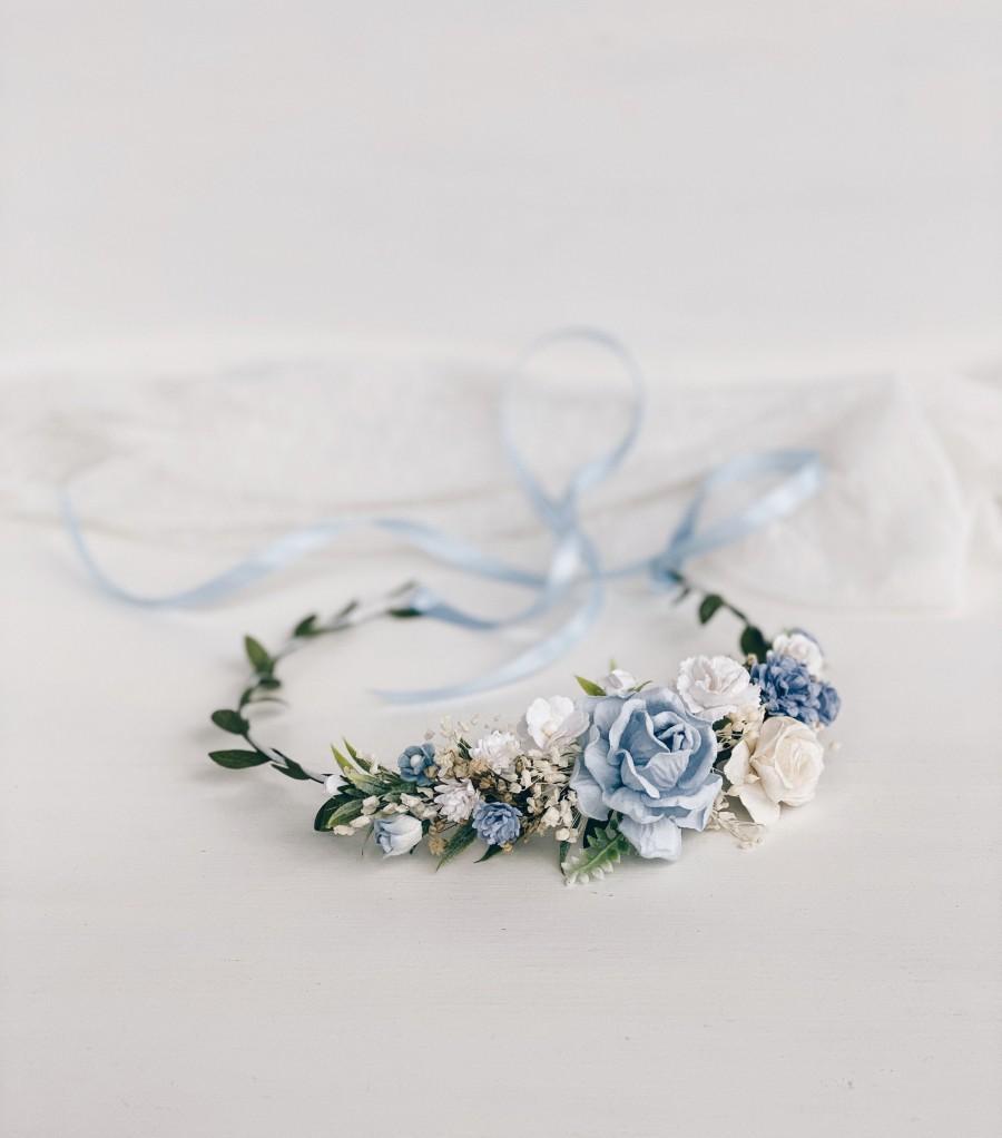 Wedding - Flower crown, Blue flower crown, Dusty Blue Flower girl crown, wedding Flower crown, Bridal flower crown, Rustic flower crown