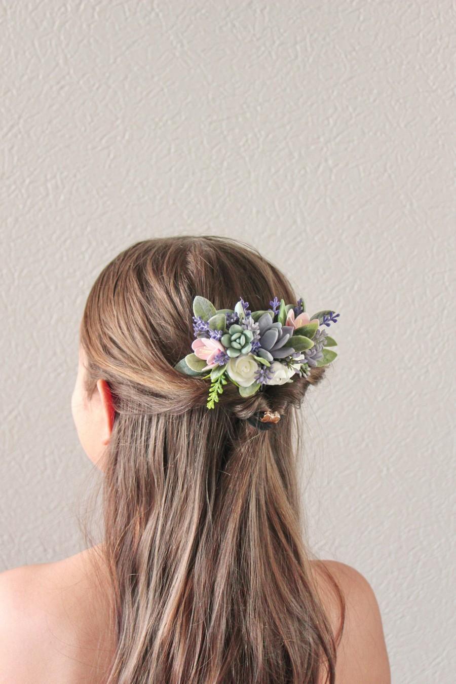 Wedding - Purple Succulent Comb, Plants Arrangement, Succulent Jewelry, Wedding Comb, Bridal comb, Succulent Style, Succulent gift, Woodland comb