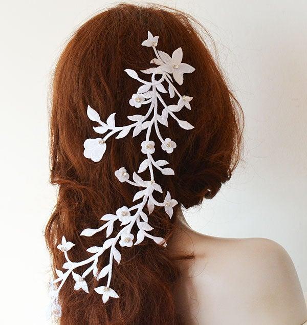 Wedding - Bridal Long Hair Vine, White Floral  Hair Vine Headpiece, Wedding Headband, Wedding Hair Accessories, Floral Bridal Halo Hair Piece Bride