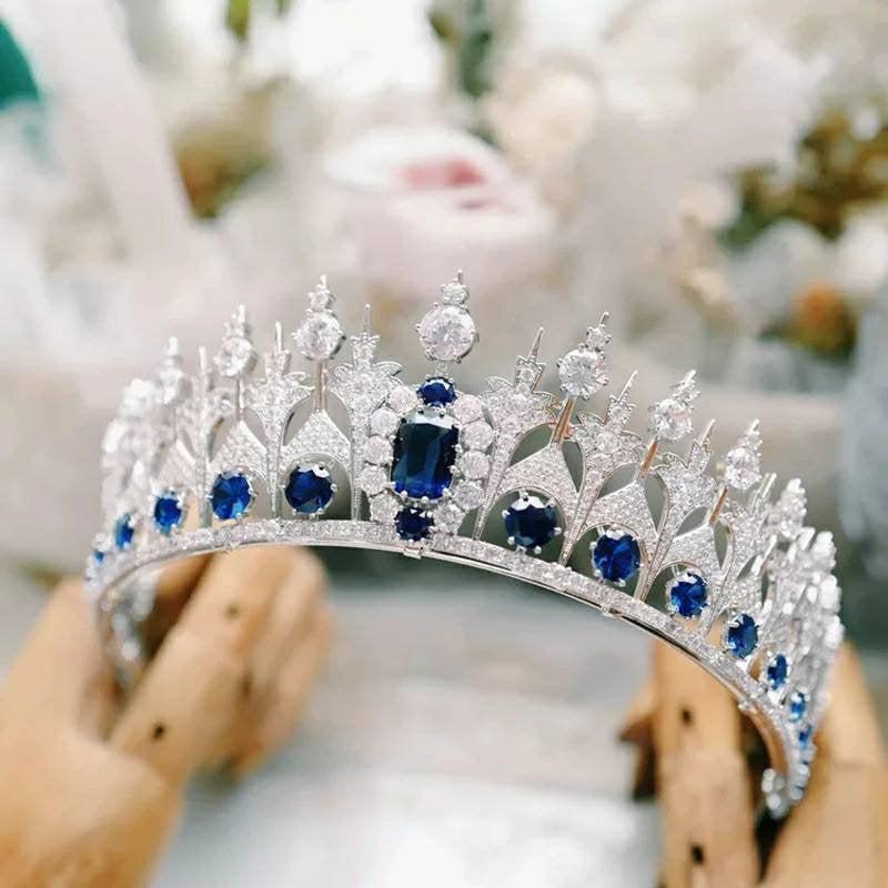 Wedding - Blue Crystal Tiara/Blue Sapphire Crown/ Prom Headwear/Silver Diadem/ Handmade Tiaras/Bridesmaids jewelry/ Wedding Headpiece/ Ladies Headwear