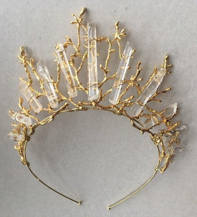 Wedding - The ESME MAXI Crown - Quartz Raw Crystal and Branch Twig Antler Woodland Ethereal Natural Crown.