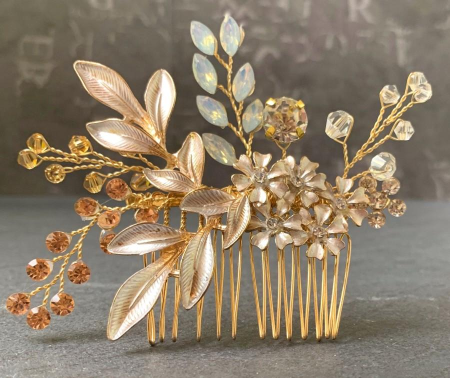 Wedding - Rose Gold Flower Hair Comb With White Gold Flowers And Accent Crystals