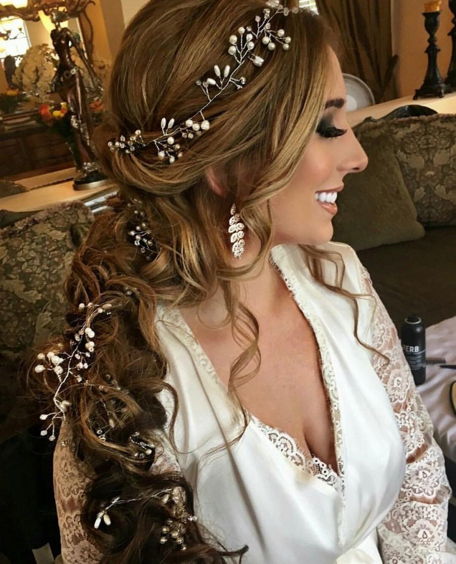 Wedding - Bridal Hair Vine Bridal Headpiece Wedding Hair Vine Hair Jewelry Pearl Crystal Headpiece WeddingTiara Headband Long Hair Vine Rustic Wedding