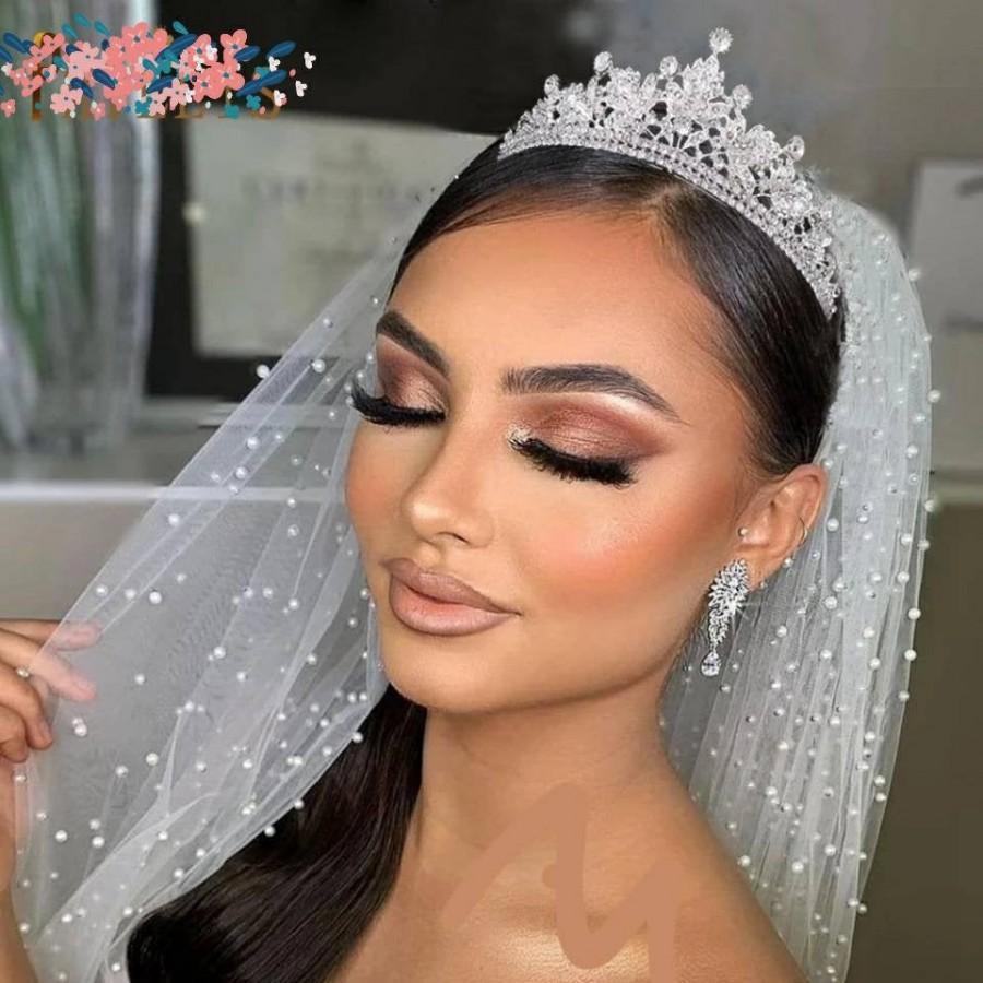 Wedding - Wedding Tiara with Sparkle/ Bridal Headwear/ Brides Hair Jewellery/ CZ Wedding Crown/ Tiara Bridal/ Crystal Bridal Headpiece/ Classic Tiara