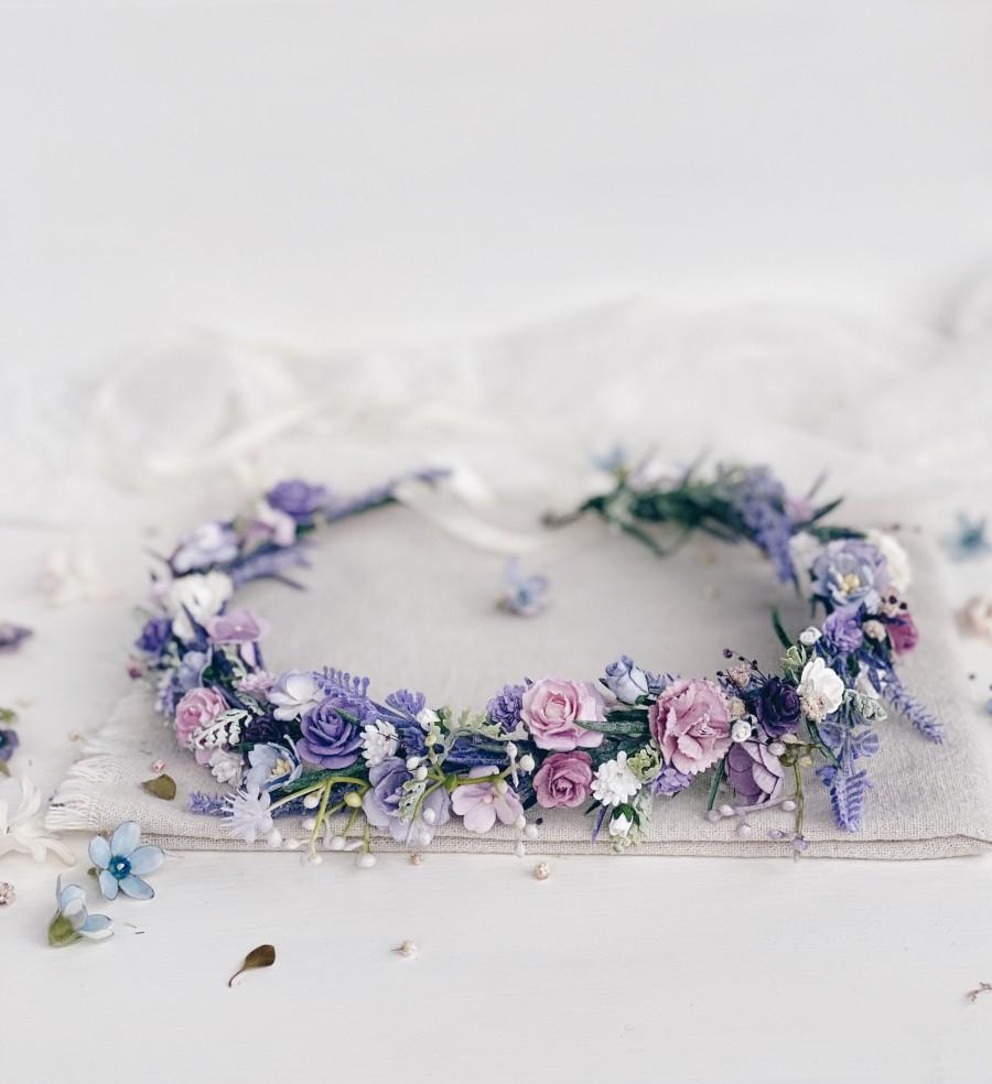 Wedding - Flower crown, Lavender flower Crown, Flower girl crown, Purple flower Crown, Wedding Flower Crown, Wedding flower hair accessories