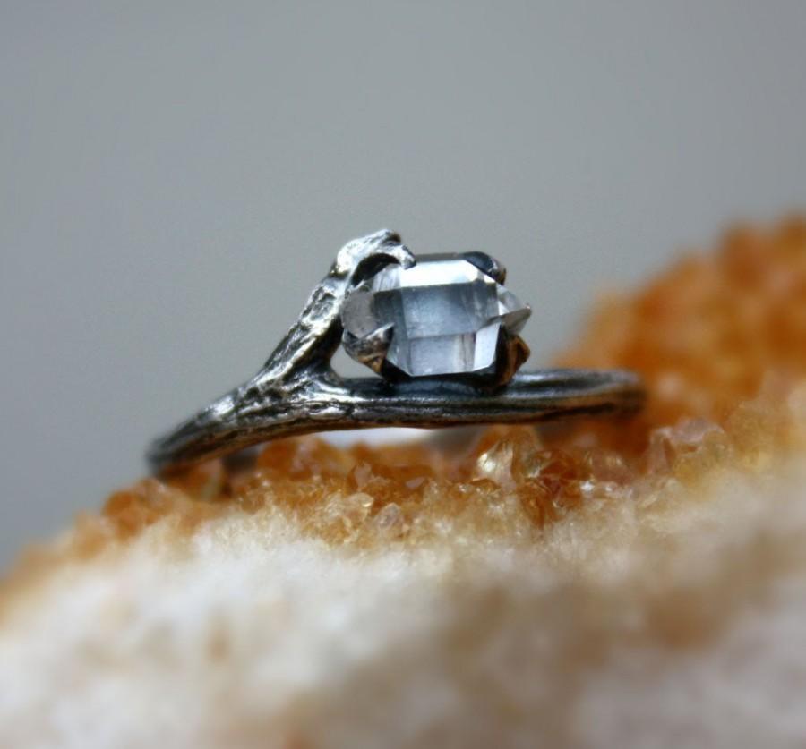 Wedding - Herkimer diamond gemstone ring,raw crystal quartz,sterling silver,branch,twig,alternative April birthstone,rough stone ring.