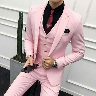 Wedding - Men Suits Formal Fashion Pink 3 Piece Wedding Groom Wear Coat Vest Pant Suits