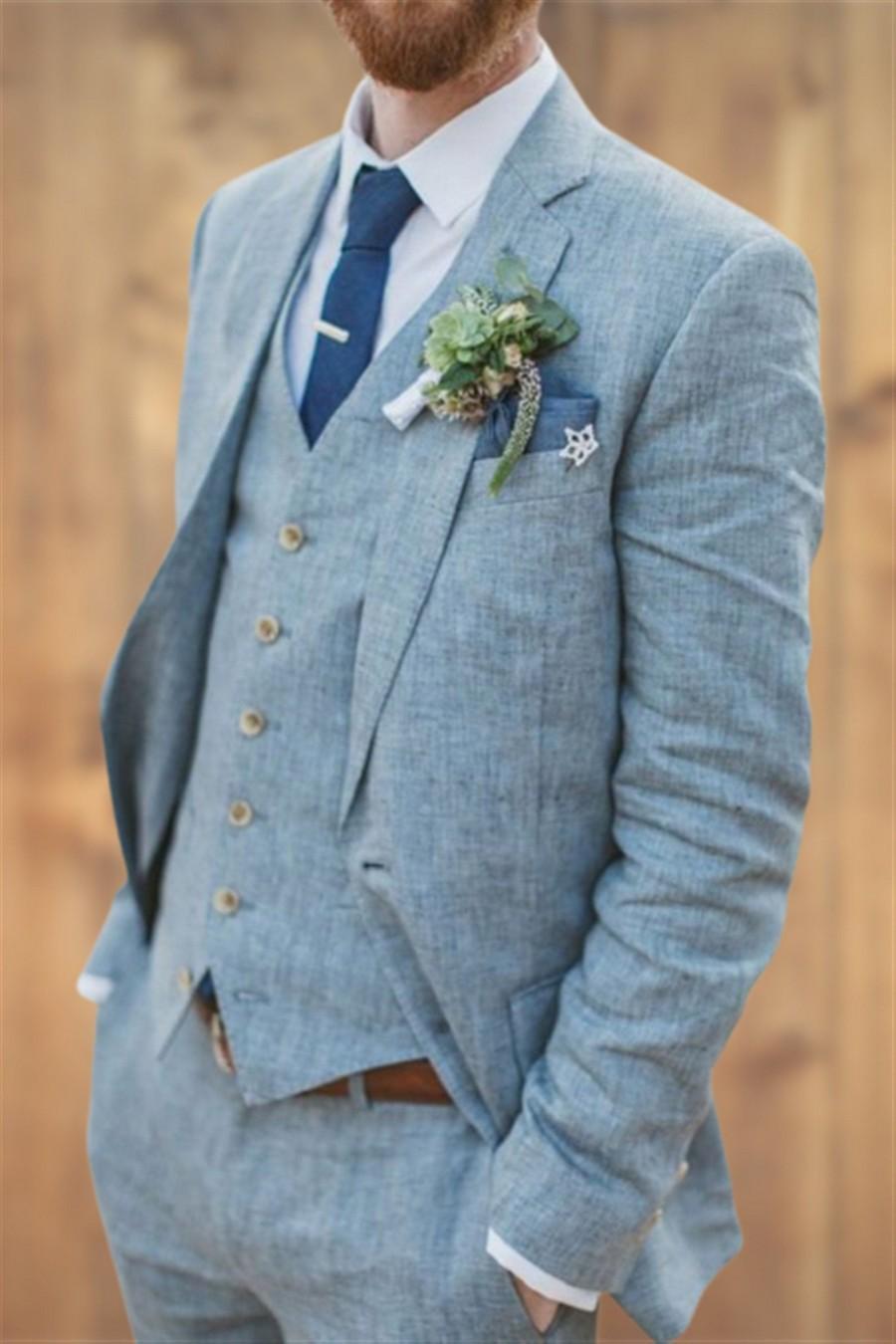 Wedding - Mens Suit Blue Suits Slim fit 3 Piece Summer Suits for Men Groom Wear Dress Beach Wedding Suit Men Dinner Suits