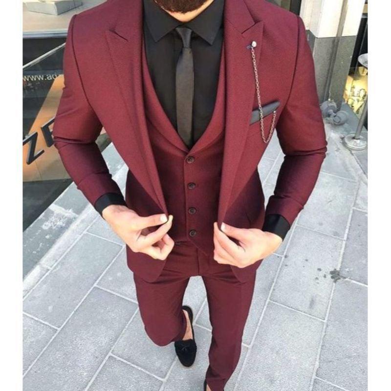 Wedding - Men Suits Maroon 3 Piece Formal Fashion Slim Fit Elegant Wedding Suit Party Wear Dinner Bespoke For Men