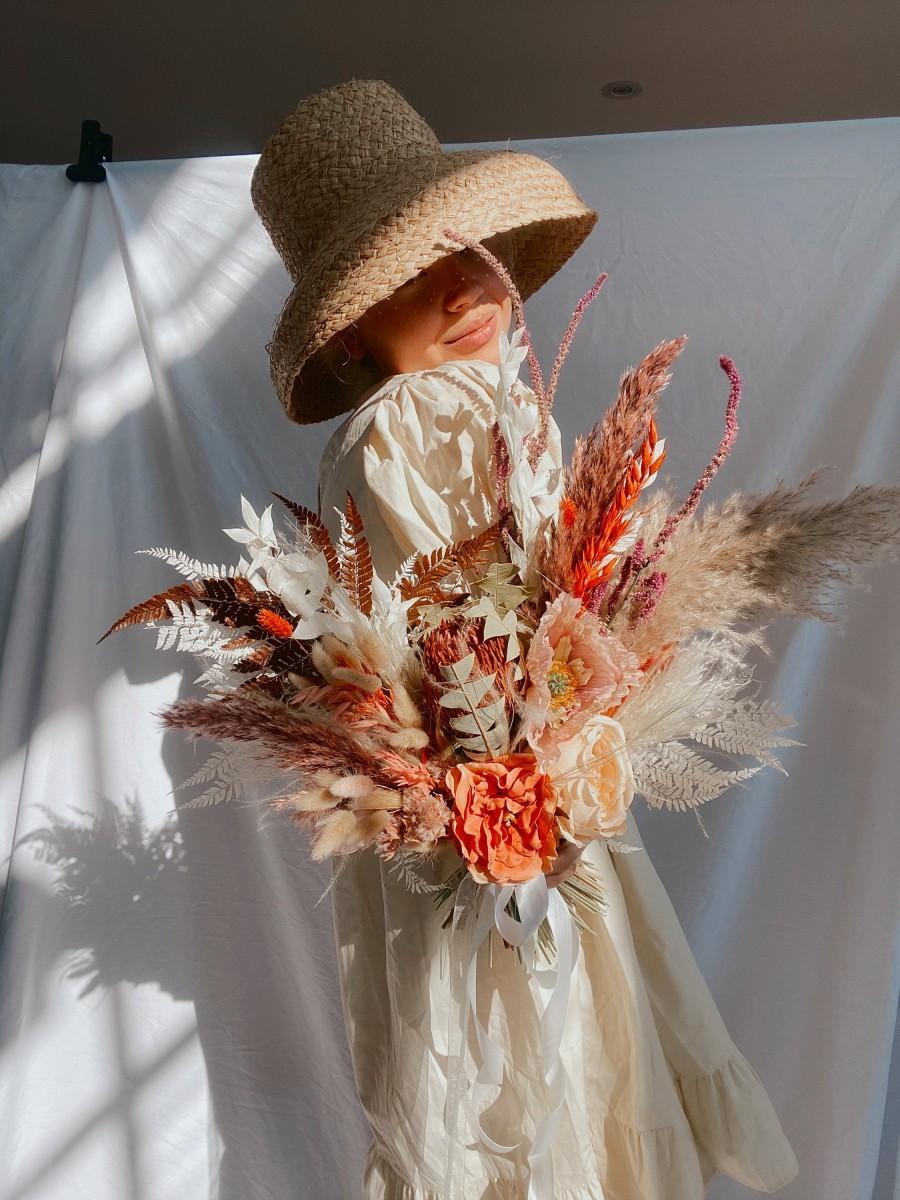 زفاف - Wildflower Dried Protea Bride Bouquet Burnt Orange And Red Pampas Grass / Autumn Wedding Bouquet / Fall Wedding