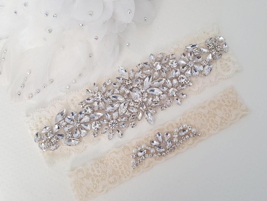 Wedding - Ivory Beaded Lace Wedding Garter, Bridal Garter Set, Wedding Garter Set, Keepsake Garter, Toss Garter, Customizable Handmade