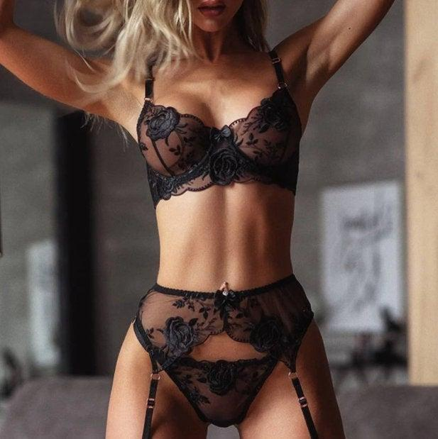 Wedding - Erotic French Lace Three Pieces Lingerie Set with Free Shipping