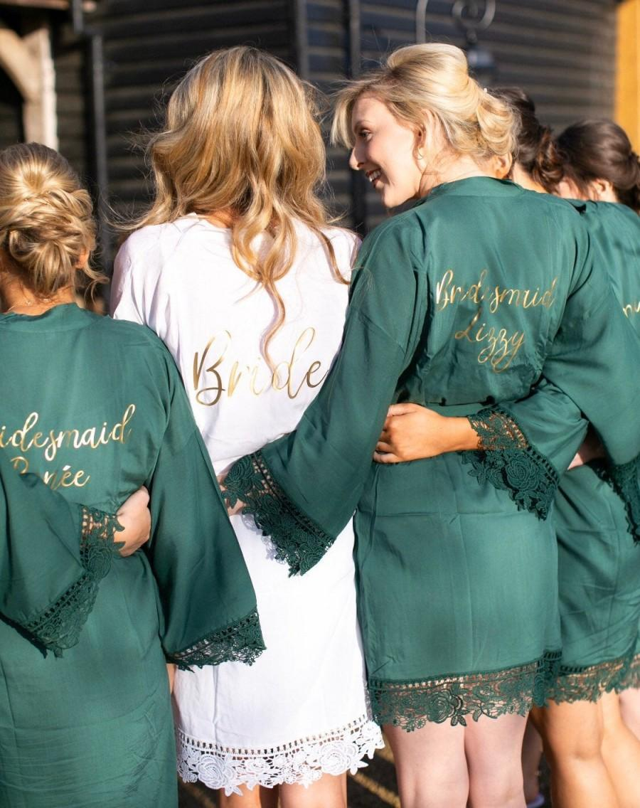 Wedding - Bridesmaid Robes, Forest Green Dressing Gown, Grey Cotton Robes, Beautiful Cotton And Lace Personalised Wedding Robes, Bridesmaid Robes uk.