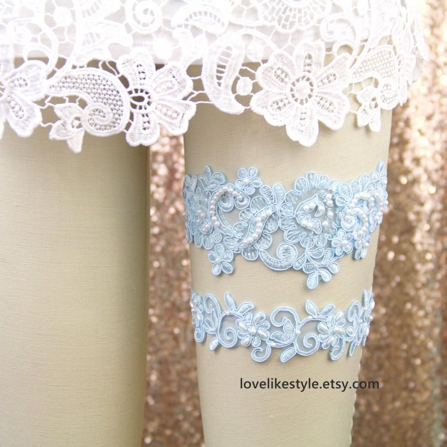 Wedding - Wedding Garter Set, Something Blue, Hand Dyed Light Blue Pearl Beaded Lace Wedding Garter Set , Ivory Lace Garter Set, Wedding Garter/ GT-44